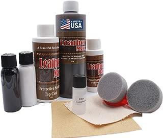 Furniture Leather Max MEGA Kit/Leather Restorer / 8 Oz Refinish 2 Oz Conditioner / 4 Oz Top Coat/Black and White 1 Oz Color Changer/Sponge (Leather Repair Kit) (Dark Brown)