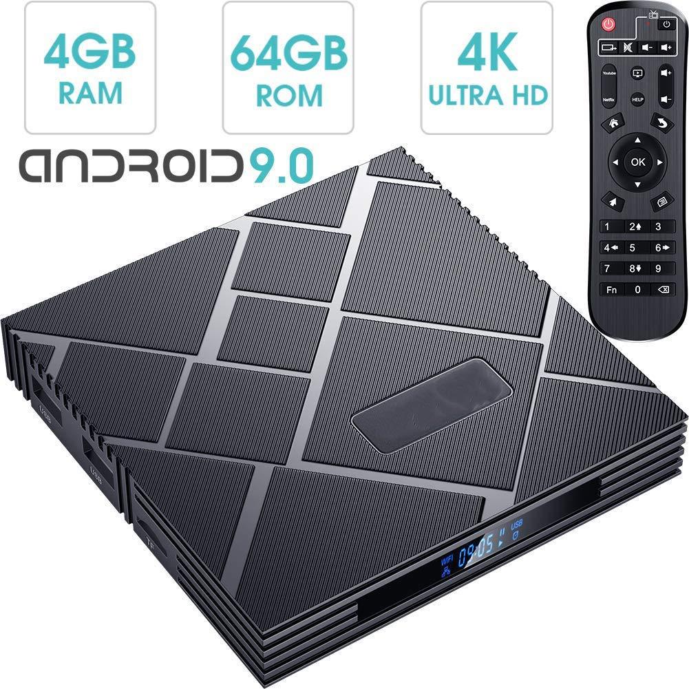 DOOK Android TV Box 9.0, 2019 El más Nuevo Android Box 4GB RAM 64GB ROM RK3318