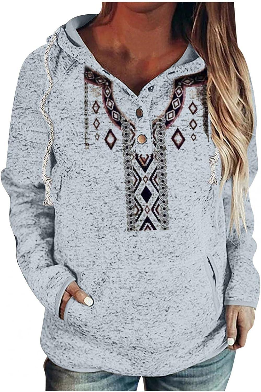 Aukbays Women's Long Ultra-Cheap Deals Sleeve Pullover Button Down Max 69% OFF Hoodies Drawstr