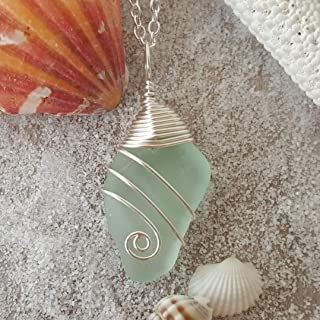 product image for Handmade in Hawaii, Genuine surf tumbled natural sea glass, wire wrapped (Hawaii Gift Wrapped, Customizable Gift Message)