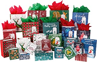Unomor Christmas Gift Bags, 72 PCS with 24 Christmas Bags, 24 Gift Tags and 24 Tissue Paper, 4 Different Sizes, 2XL, 4 Large, 10 Medium, 8 Small, 8 Designs for Holiday Gift Wrapping
