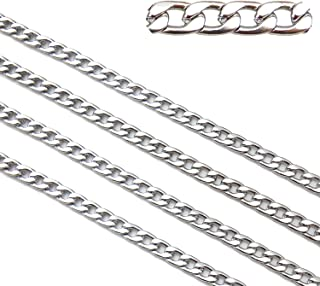 Belle Crafts 16.5ft Stainless Steel Figaro Chains Findings Silver Tone Fit for Jewelry Making &DIY (SC-1007-D)