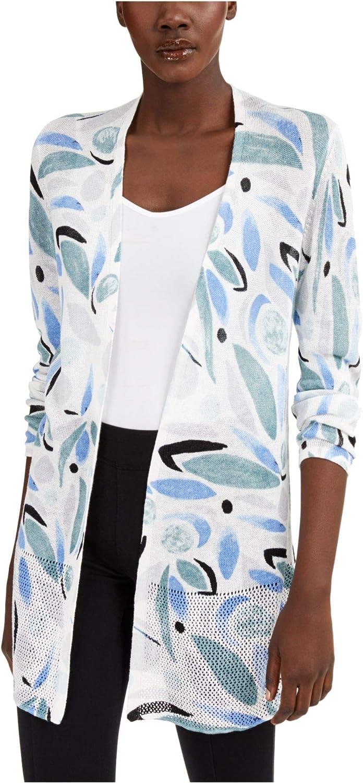 Alfani Womens Linen Blend Open Stitch Cardigan Sweater