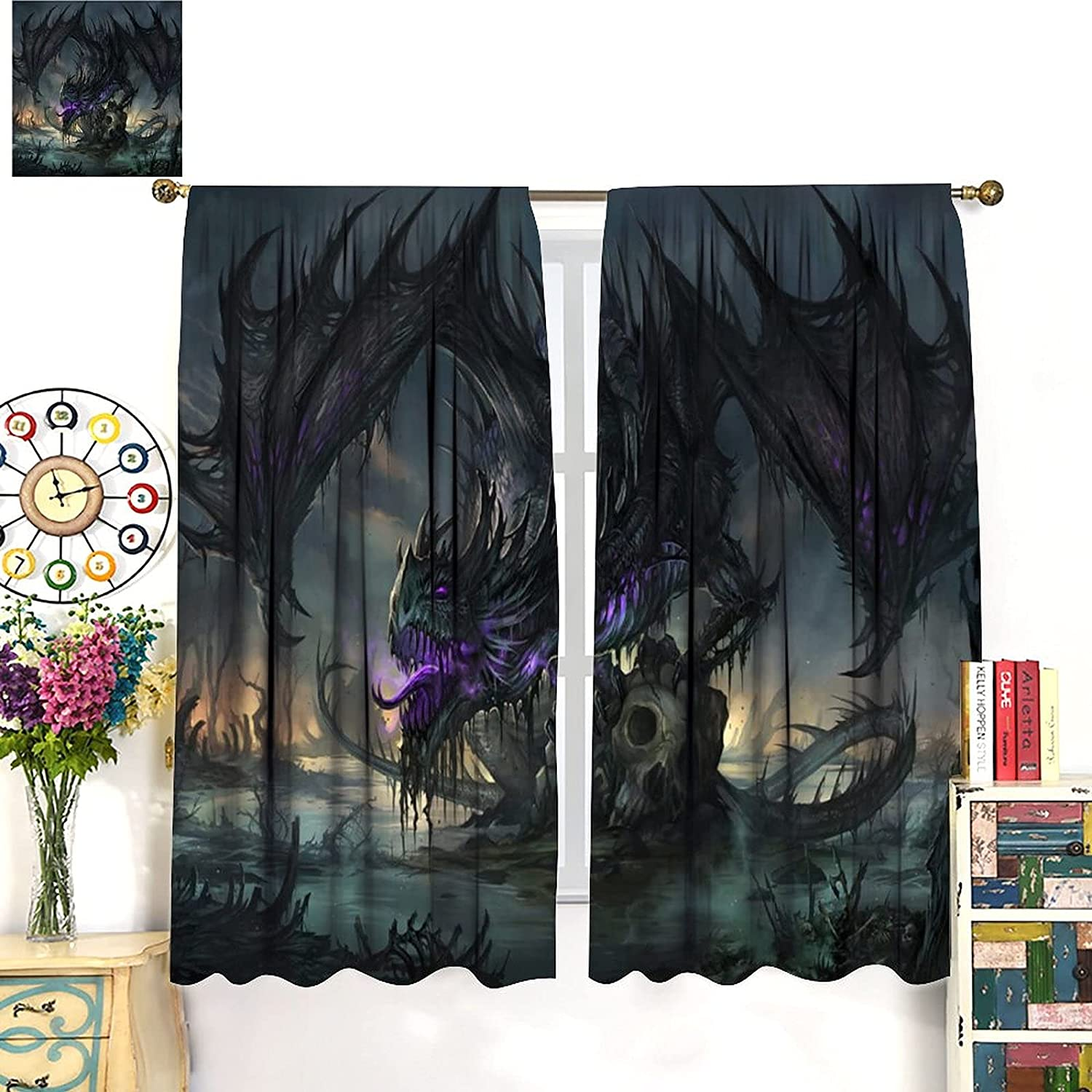 Dragon Blackout Curtains Fantasy Art Dragons Max 82% OFF and Wings Sale Purple Sk
