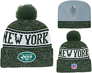 Forever Collectibles New York Jets Sport Knit Winter Hat Football Beanie Knit Cap with Pom