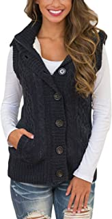 Women Hooded Sweater Vest Knit Cardigan Outerwear Coat
