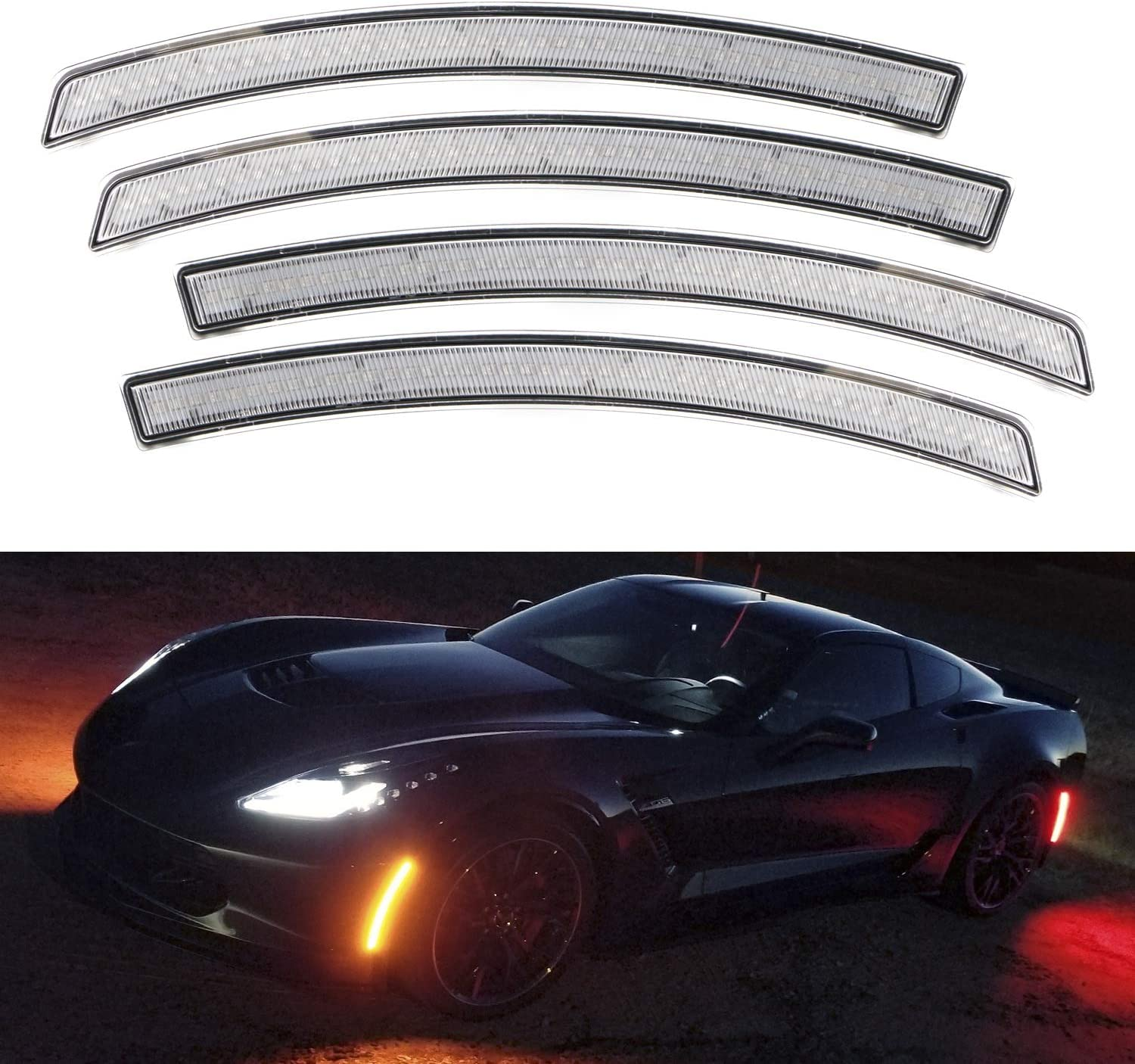 Replace OEM Sidemarker Lamps iJDMTOY Smoked Lens Full LED Strip Rear Side Marker Light Kit Compatible With 1999-2004 Chevy C5 Corvette Powered by 50-SMD LED