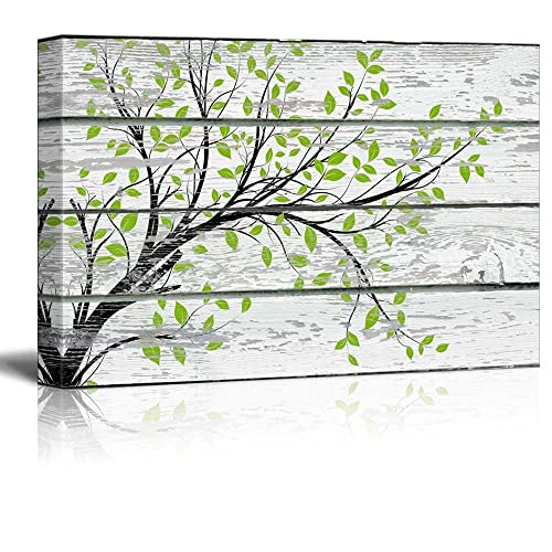 Leaf Print On Wood Wall Art Amazon Com