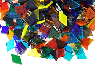 Lanyani Mix Glass Mosaic Tiles Pieces for Crafts, Assorted Shapes and Colors,10.5oz Bulk, Transparent