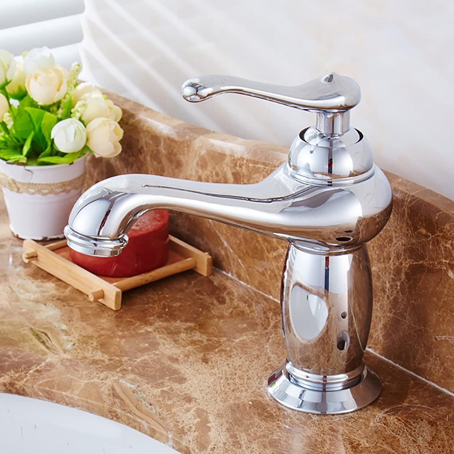 ZJM All Copper Basin Faucet Single Hole Retro Hot And Cold Water Mixer (color   Silver)