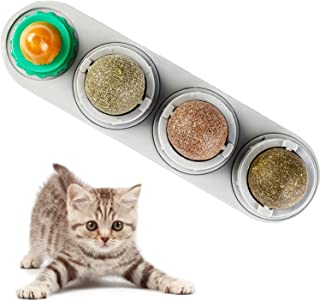 Bisogoon Catnip Ball Wall Toy for Cats Catnip Edible Balls Natural Interactive Toy Licking Treats Toys for Cats Kitten Kit...