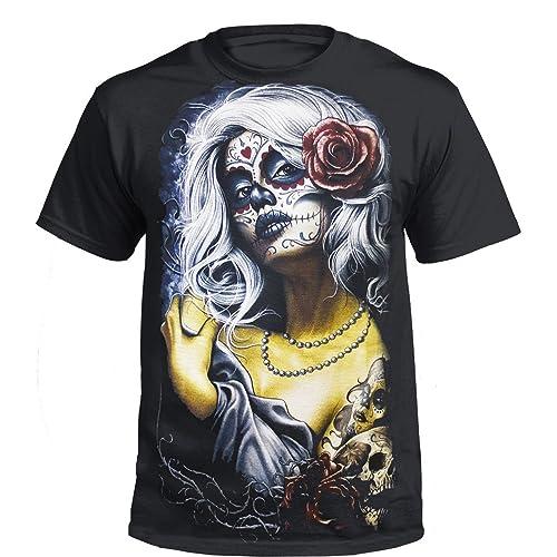 56b661ed2 Trend Gear New Rose Skull T-Shirt,Tattoo Rock Metal Biker Goth Mexican Sugar