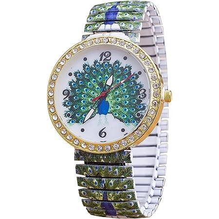 Flores primavera pavo real impreso reloj de acero inoxidable reloj de pulsera