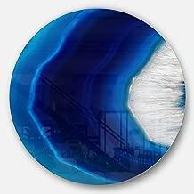 "Designart MT8837-C11""Blue Agate Crystal Abstract Digital Art Disc"" Metal Wall Art, 11"" x 11"", Blue/White"