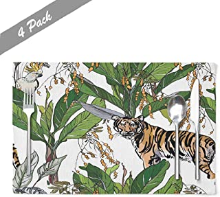 Ansote Forest Art Placemats, Tropical Forest Exotic Wild Jungle Animal Art 12x18 Inch Set of 4 Placemats Heat Resistant Dining Table Place Mats Kitchen,Linen Non Slip for Kids,Seamless Tropical