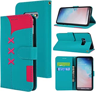 Phone Case Cover Fabric Stitching Embroidery Horizontal Flip Leather Case With Holder & Card Slots & Wallet for Galaxy S10e(Red) Smartphone Shell Cover (Color : Light Blue)