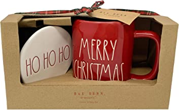 RAE DUNN BY MAGENTA MUG AND COASTER SET – Red Merry Christmas Mug and White Ho Ho Ho Coaster Set - Perfect to sip your favorite Christmas morning drink, like coffee or tea