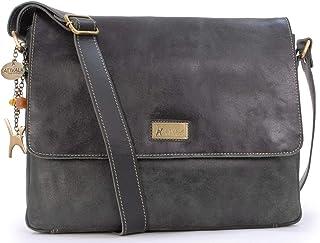 Catwalk Collection Handbags - Vintage Grobem Leder - CATWALK COLLECTION - Größ - Umhängetasche Messenger/Schultertasche/Ar...