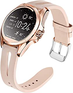 for Michael Kors Access Bradshaw, Blueshaw Slim Vintage Leather Strap Replacement for Women Man, Wristband Accessories Compatible with MK Access Touchscreen Bradshaw/MK Bradshaw 2 Smartwatch (Pink)