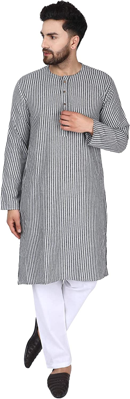 SKAVIJ Camisa de Hombre - Kurta de Algodón - Camisas Casuales de Manga Larga