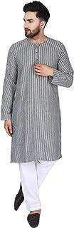 SKAVIJ Men's Tunic Cotton Long Kurta Shirt Regular Fit