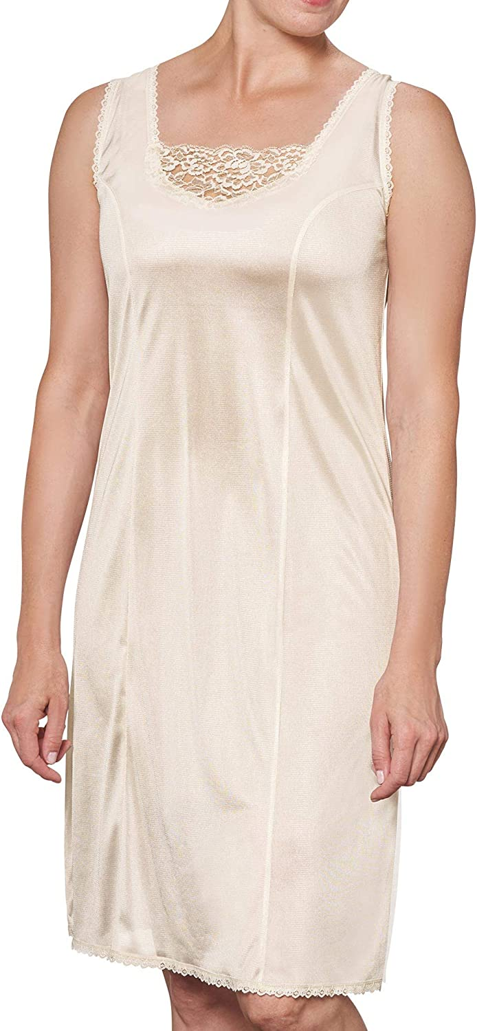 AmeriMark Women's Medallion Full Slip with Lace Accents & Wide Shoulder Straps