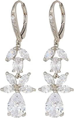 Floral CZ On Leaverback Earrings