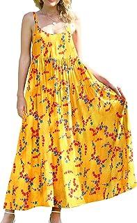 YESNO Women Casual Long Maxi Summer Beach Swing Dresses Empire Waist Sexy Tiered Bohemian Spaghetti Dress XS-5X E75CAG