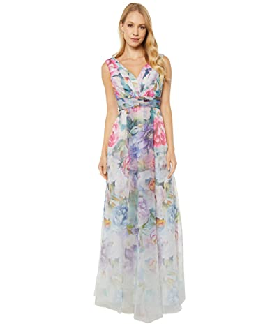 Adrianna Papell Printed Organza Ball Gown (Ivory Multi) Women