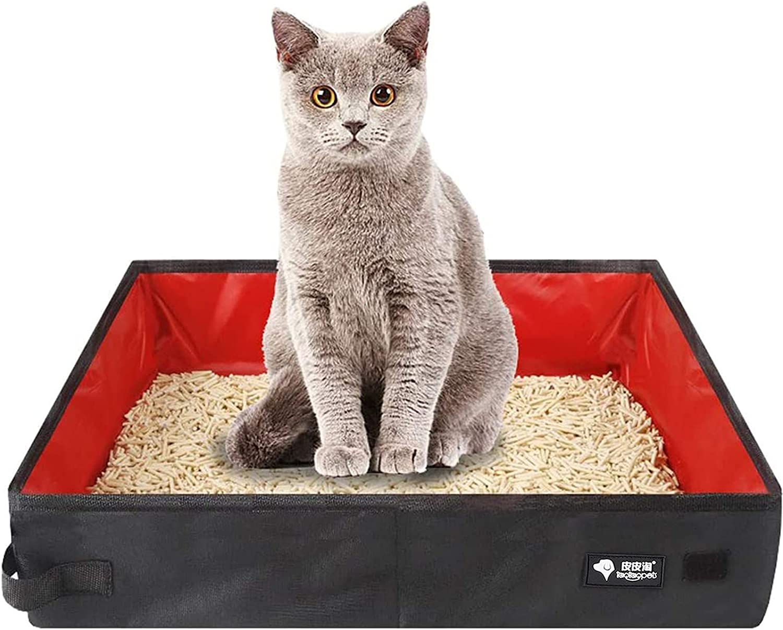 Bandeja para gatos plegable,Caja de Arena Plegable portátil,Viajes Cajas de Arena para Mascotas,Bandeja de Inodoro Plegable Impermeable,para viajes Camping Uso en el hogar Ligera y fácil limpieza(rojo