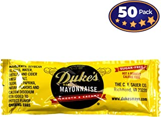 Dukes Mayonnaise Packets 50 Pack. Sugar-Free, Low Carb, Gluten Free Individual Servings of Real Mayo. Great-Tasting and Full of Omega-3s in Tear-Open, Disposable Condiment Packs! Perfect for Parties!