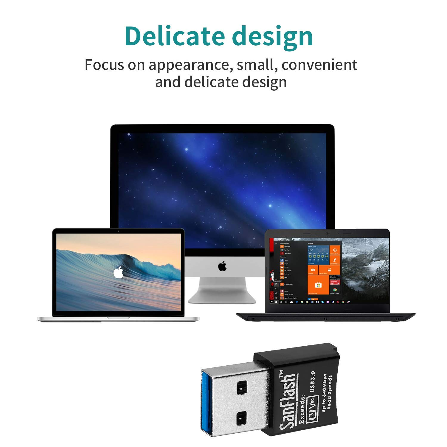 Jumbo Mini Adapter to Directly Read at 5Gbps Your MicroSDHC MicroSDXC Cards SanFlash PRO USB 3.0 Card Reader Works for Karbonn K36