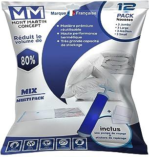 Sacs de Rangement Sous Vide MONT MARTIN CONCEPT Lot de 12 Variétés Maxi Stock Matière Prémium Réutilisable|Aspirateur|Incl...