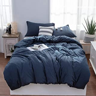 LIFETOWN Jersey Knit Cotton Duvet Cover Twin, 1 Duvet Cover and 2 Pillowcases, Simple Solid Design, Super Soft and Easy Care (Twin/Twin XL, Navy Blue)