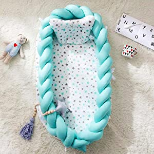 RZJ-Puzzle Cotton Woven Folding Portable Crib Bed Bionic Removable And Washable Manual Fence Three-Dimensional Protective Crib Blue