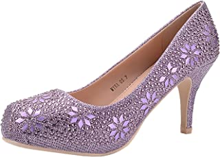 76f4201e5220 Mila Lady MAYRA06 Princess Sparkle Crystal Gem Rhinestone Glitter Formal  Pumps