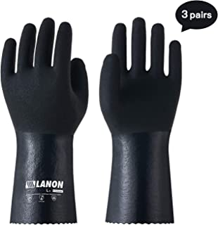LANON Nitrile Chemical Resistant Gloves, Heavy Duty Work Gloves, Latex Free, Cotton Lining, Reusable, CAT III, Large, 3Pairs