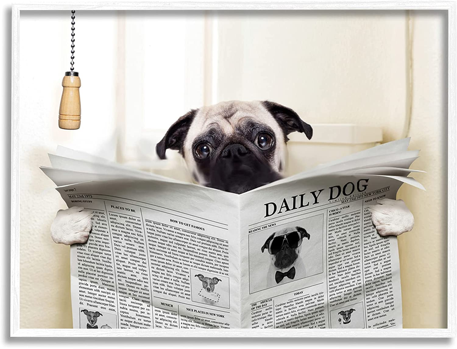Stupell Industries Pug Reading Newspaper by in Bathroom Max 44% All items in the store OFF Design