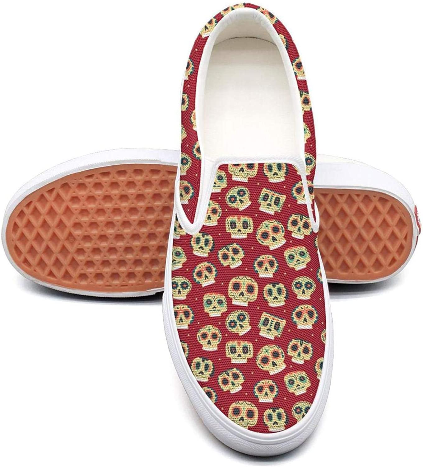 Candy colorful Skull coloring Book Slip On Superior Comfort Loafers Canvas shoes for Women Casual