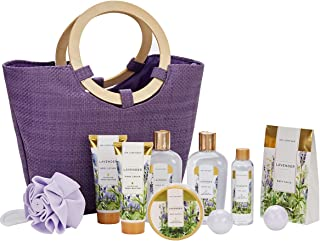 Spa Luxetique Lavender Spa Gift Baskets for Women, Premium 10pc Gift Baskets with Spa Tote Bag, Best Gift Sets for Women - Luxury Home Spa Gift Set with Bath Bombs, Body Butter, Lotion, Bath Puff.