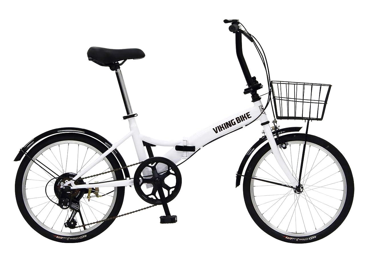 コロニーすぐにスチュワーデスVIKINGBIKE(バイキングバイク) TUGH(タフ) パンクしない折りたたみ自転車 ノーパンクタイヤを採用 20インチ 6段変速 バスケット/泥除け装備 81205