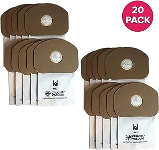 Crucial Vacuum Replacement Vacuum Bag – Compatible with Eureka Part # 62370, B352-2500 – Fits Models Eureka BV-2, Sanitaire, Backpack, Carpet Pro, Piranha, Tornado – Bulk (20 Pack)