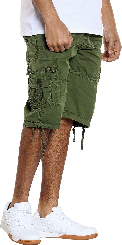 Denim Culture Men's Belted Cargo Short - Army Green