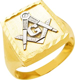 AMZ Jewelry Men's 10K Yellow Gold Masonic Ring Freemason Ring