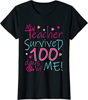 My Teacher Survived 100 Days Of Me Girls T-Shirt for School