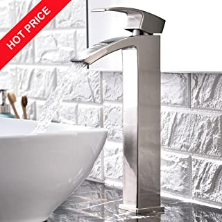 Friho Modern Single Handle Brushed Nickel Waterfall Tall Vessel Sink Bathroom Faucet,With Extra Large Rectangular Spout