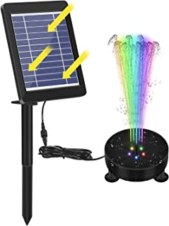 Solar Fountain Pump with Led Lights Battery Backup 1800mA, Plug-in 3.5W Upgraded Solar Panels, 6 Nozzles, Outdoor Garden W...