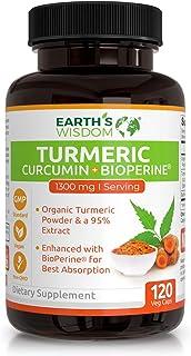 Premium Organic Turmeric Curcumin with BioPerine 1300mg. 120 Non-GMO & Gluten Free Veggie Capsules with Pepper. Potent Pai...