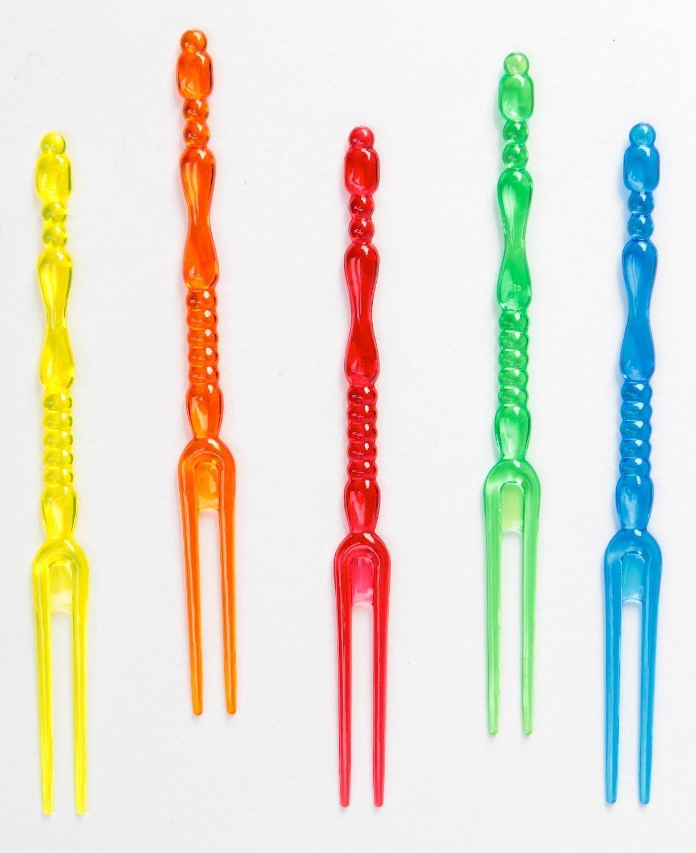 4 Black Amscan Translucent Pick Forks