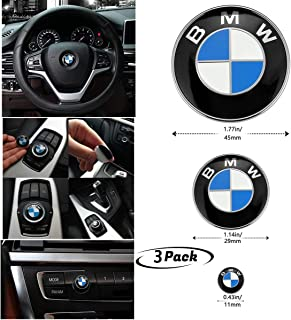 3Piece DIY BMW Steering Wheel Emblem Decal, BMW Multimedia Center Button iDrive Controller Decal, BMW Radio Button Decal, for BMW Decoration Combination
